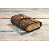 The Vintage lock Leather Journal with deckle edge  paper