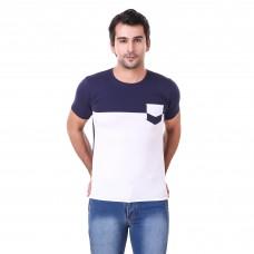 White And Navy Regular Cotton Blend Round Neck Tshirt