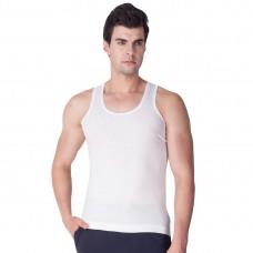 White Cotton Blend Plain Vest