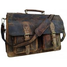 Dual Pocket Leather laptop Bag