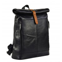 The Hero Black Leather Backpack